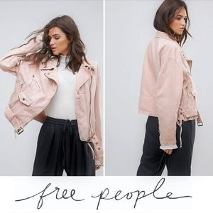 NEW Free People Lace-Up Denim Pink Moto Jacket
